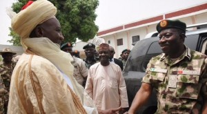 R-L: President Goodluck Jonathan with the Emir of Mubi, during his visit to Mubi, Adamawa State.
