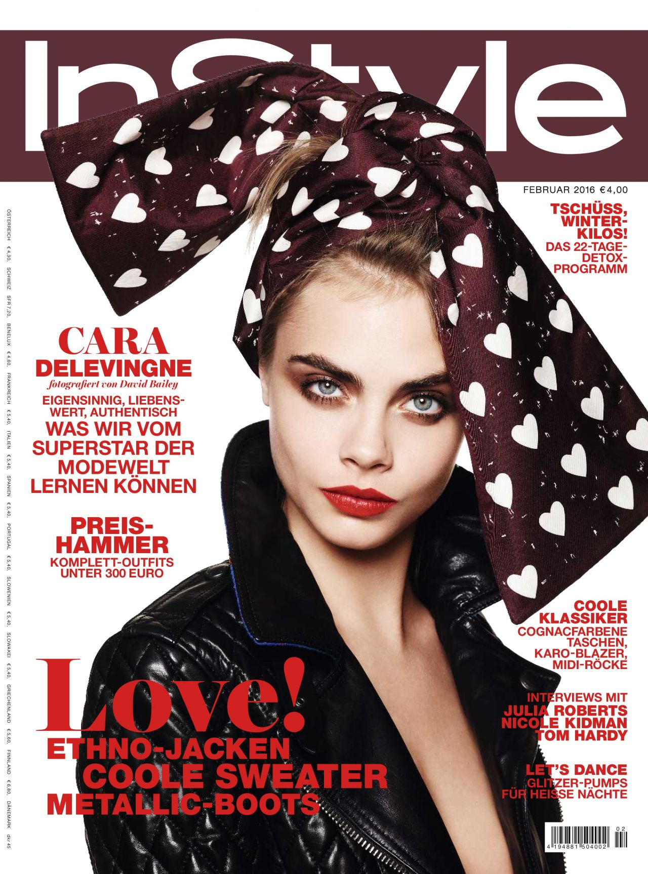 super fashionable cara delevingne covers instyle germany february issue thewill. Black Bedroom Furniture Sets. Home Design Ideas