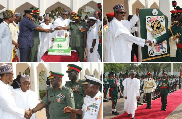 Image result for  Buhari Marks 74th Birthday With Special Parade
