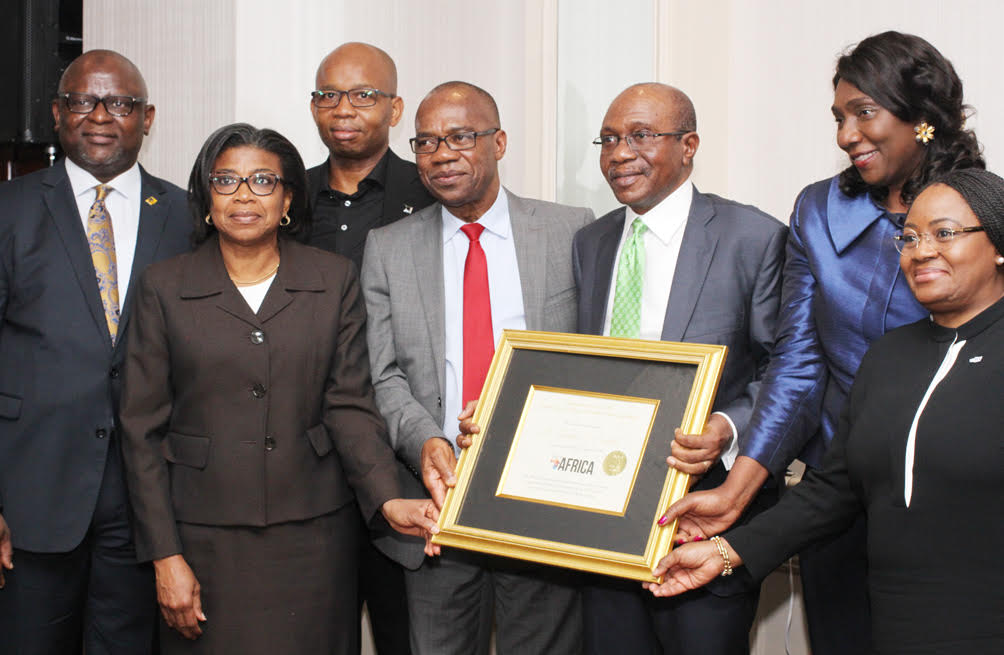 L-R;  MD/CEO, First Bank Nigeria Ltd, Adesola Adeduntan; Director-General, Debt Management Office, Patience Oniha; GMD, Diamond Bank Plc, Uzoma Dozie; Deputy Governor, CBN, Dr Joseph Nnanna; Governor, CBN, Godwin Emefiele; Chairman, Foreign lnvestment Network, Mrs Olayinka Fayemi and CEO, Unity Bank Plc, Tomi Somefun during the Forbes Best of Africa lnnovative Banking Award 2017 bestow on the Governor, Mr. Emefiele by tje Forbes Custom Solutions at the Willard Continental Hotel, Washington DC, USA on Thursday, 12/10/2017