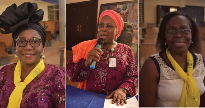 Dr Beatrice Ogannah-Ikujenyo (Chairperson, WICE), Dr Omolola Ladele (Speaker at the symposium), Prof B.B. Lafiaji-Okuneye (Provost of the College.