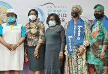 L-R: Mrs Funke Femi Adepoju, Executive Secretary, Lagos State Water Regulatory Commission (LASWARCO) ; Mrs Belinda Odeleye Rep of the Commissioner, Ministry of The Environment and Water Resources, Lagos State; Prof of Geology, Unilag, Mrs Odukoya; Mrs Clementina Chinwe Ativie, National President of Association of Table Water Producers of Nigeria (ATWAP) and Mr Oluwaseun Obadofin, President of Association of Table Water Producers of Nigeria (ATWAP), Lagos State Chapter, during the 2021 World Water Day celebrated in Lagos recently.