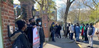 Nigerians in UK today stormed Abuja House in London, protesting and demanding Buhari must return back to Nigeria