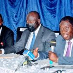 L-R: Group Corporate Affairs Manager, Bi-Courtney Aviation Services Limited, Mr. Mikail Mumuni. Chairman. Dr. Wale Babalakin and Exec. Director, Mr. Luqman Balogun at a press conference on Friday at MMA2, Ikeja, Lagos